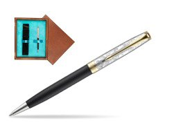 Parker Sonnet Black Gt 18 K (Transit) Ballpoint Pen  single wooden box  Mahogany Single Turquoise