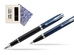 Parker set IM Blue Origin Fountain Pen + ballpoint pen  Universal Crystal Blue