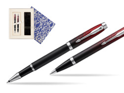 Parker set IM Red Ignite Special edition Rollerball  Pen + ballpoint pen  Universal Crystal Blue