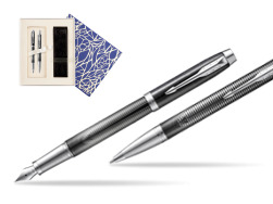 Parker set IM Metallic Pursuit Special edition fountain Pen + ballpoint pen  Universal Crystal Blue