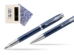 Parker set IM Midnight Astral Special edition fountain Pen + ballpoint pen  Universal Crystal Blue