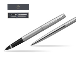 Parker Jotter Stainless Steel Chrome Color Trim  CT Pen T2016 Rollerball Pen + Ballpoint Pen in a Gift Box