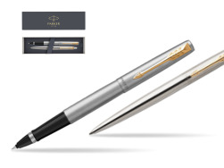 Parker Jotter Stainless Steel Chrome Color Trim  GT Pen T2016 Rollerball Pen + Ballpoint Pen in a Gift Box