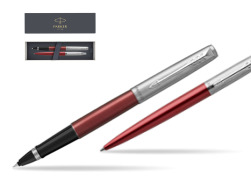 Parker Jotter Kensington Red CT T2016 Rollerball Pen + Ballpoint Pen in a Gift Box