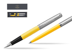 Parker Jotter Originals Yellow CT T2016 Fountain Pen + Ballpoint Pen in a Gift Box