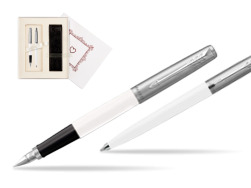 "Parker Jotter Originals White CT T2016 Fountain Pen + Ballpoint Pen in a Gift Box  ""Pure Love"""