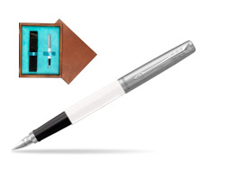 Parker Jotter Originals White Fountain Pen  single wooden box  Mahogany Single Turquoise
