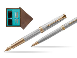 """Parker Sonnet Fougère GT Fountain Pen + Ballpoint Pen in a Gift Box