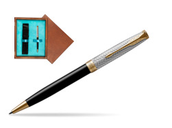 Parker Sonnet Fougère & Black GT Ballpoint Pen  single wooden box  Mahogany Single Turquoise
