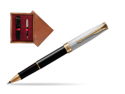 Parker Sonnet Fougère & Black GT  Rollerball Pen  single wooden box Mahogany Single Maroon