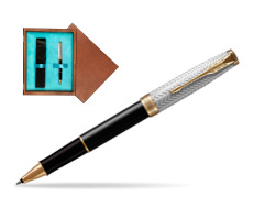 Parker Sonnet Fougère & Black GT  Rollerball Pen  single wooden box  Mahogany Single Turquoise