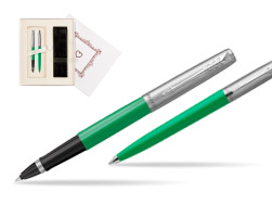 "Parker Jotter Originals Green CT T2016 Rollerball Pen + Ballpoint Pen in a Gift Box  ""Pure Love"""