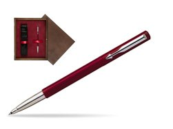 Parker Vector Standard Red Rollerball Pen  single wooden box  Wenge Single Maroon