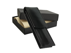Leather case for 2 or 3 products - black