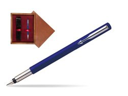 Parker Vector Standard Blue Fountain Pen  single wooden box Mahogany Single Maroon