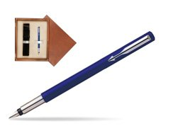 Parker Vector Standard Blue Fountain Pen  single wooden box  Mahogany Single Ecru