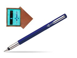 Parker Vector Standard Blue Fountain Pen  single wooden box  Mahogany Single Turquoise