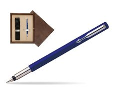 Parker Vector Standard Blue Fountain Pen  single wooden box  Wenge Single Ecru