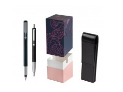 Parker Vector Standard Black Fountain Pen + Parker Vector Standard Black Ballpoint Pen in a Gift Box  StandUP Roses