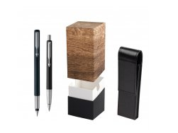 Parker Vector Standard Black Fountain Pen + Parker Vector Standard Black Ballpoint Pen in a Gift Box  StandUP Wood