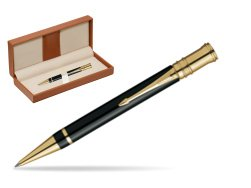 Parker Duofold Black Resin GT Ballpoint Pen  in classic box brown