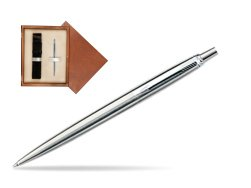 Parker Jotter Stainless Steel CT Ballpoint Pen in single wooden box  Mahogany Single Ecru