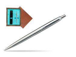 Parker Jotter Stainless Steel CT Ballpoint Pen in single wooden box  Mahogany Single Turquoise