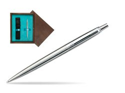 Parker Jotter Stainless Steel CT Ballpoint Pen in single wooden box  Wenge Single Turquoise