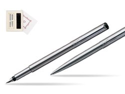 "Parker Vector Stainless Steel CT Fountain Pen + Parker Vector Stainless Steel CT Ballpoint Pen in Gift Box ""Pure Love"""