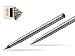 Parker Vector Stainless Steel CT Fountain Pen + Parker Vector Stainless Steel CT Ballpoint Pen in Standard Gift Box