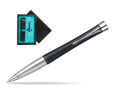 Parker Urban Classic Muted Black Lacquer CT Ballpoint Pen  single wooden box  Black Single Turquoise