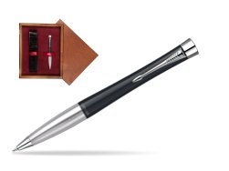 Parker Urban Classic Muted Black Lacquer CT Ballpoint Pen in single wooden box Mahogany Single Maroon