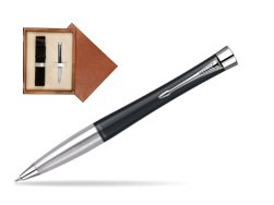 Parker Urban Classic Muted Black Lacquer CT Ballpoint Pen in single wooden box  Mahogany Single Ecru