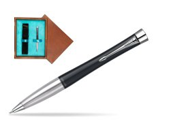 Parker Urban Classic Muted Black Lacquer CT Ballpoint Pen in single wooden box  Mahogany Single Turquoise