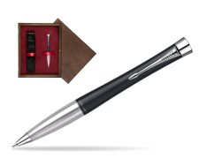 Parker Urban Classic Muted Black Lacquer CT Ballpoint Pen in single wooden box  Wenge Single Maroon