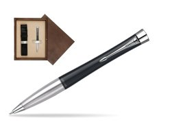 Parker Urban Classic Muted Black Lacquer CT Ballpoint Pen in single wooden box  Wenge Single Ecru