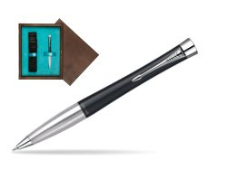 Parker Urban Classic Muted Black Lacquer CT Ballpoint Pen in single wooden box  Wenge Single Turquoise