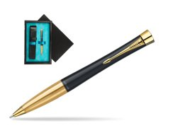Parker Urban Classic Muted Black Lacquer GT Ballpoint Pen  single wooden box  Black Single Turquoise