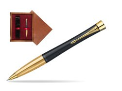 Parker Urban Classic Muted Black Lacquer GT Ballpoint Pen in single wooden box Mahogany Single Maroon