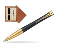 Parker Urban Classic Muted Black Lacquer GT Ballpoint Pen in single wooden box  Mahogany Single Ecru