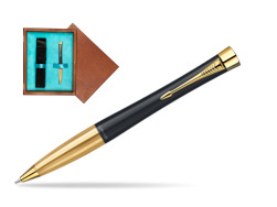 Parker Urban Classic Muted Black Lacquer GT Ballpoint Pen in single wooden box  Mahogany Single Turquoise