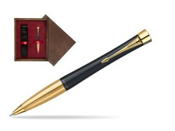 Parker Urban Classic Muted Black Lacquer GT Ballpoint Pen in single wooden box  Wenge Single Maroon