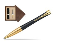 Parker Urban Classic Muted Black Lacquer GT Ballpoint Pen in single wooden box  Wenge Single Ecru