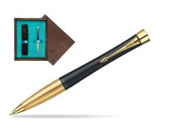 Parker Urban Classic Muted Black Lacquer GT Ballpoint Pen in single wooden box  Wenge Single Turquoise