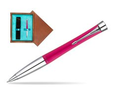 Parker Urban Fashion Cool Magenta Lacquer CT Ballpoint Pen  single wooden box  Mahogany Single Turquoise