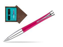 Parker Urban Fashion Cool Magenta Lacquer CT Ballpoint Pen  single wooden box  Wenge Single Turquoise