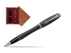 Parker Urban Classic Muted Black Lacquer CT Rollerball Pen in single wooden box Mahogany Single Maroon