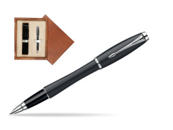 Parker Urban Classic Muted Black Lacquer CT Rollerball Pen in single wooden box  Mahogany Single Ecru