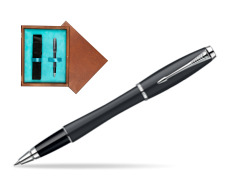 Parker Urban Classic Muted Black Lacquer CT Rollerball Pen in single wooden box  Mahogany Single Turquoise