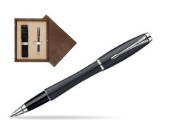 Parker Urban Classic Muted Black Lacquer CT Rollerball Pen in single wooden box  Wenge Single Ecru